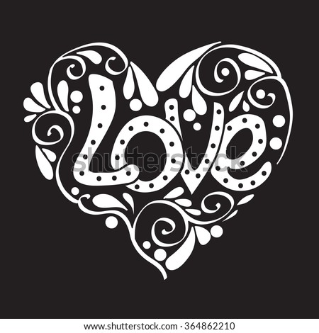 Decorative Love Heart for Wedding or Valentines Day. Vector illustration.