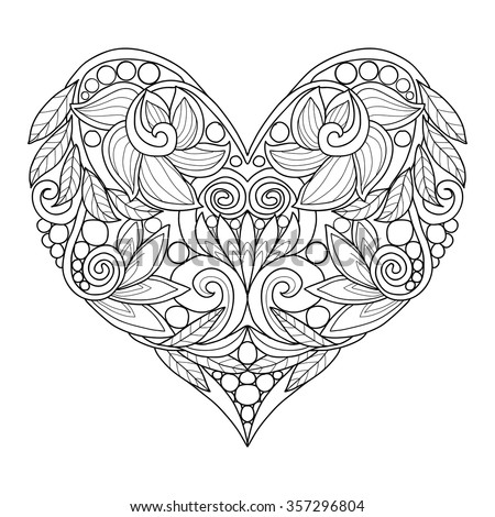 Decorative Love Heart. Vector illustration. Coloring book for adult and older children. - stock vector