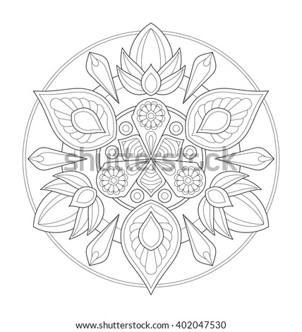 Decorative mandala illustration for adult coloring, well arranged group and easy to edit - stock vector