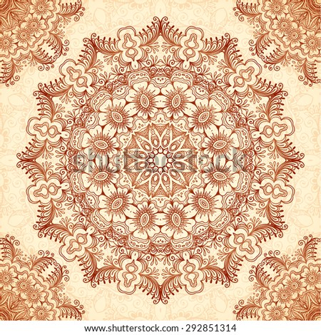 Decorative mandala in Indian mehndi style, vector seamless pattern - stock vector
