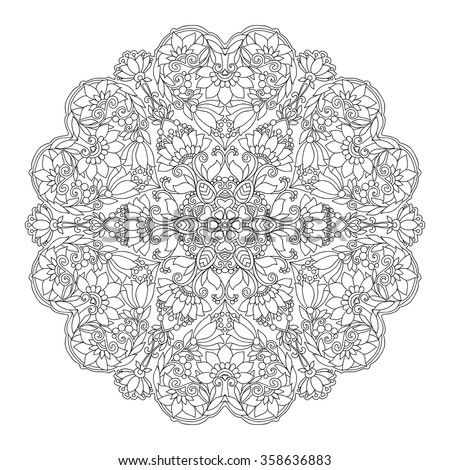 decorative mandala with love hearts coloring book for adult and older children coloring page