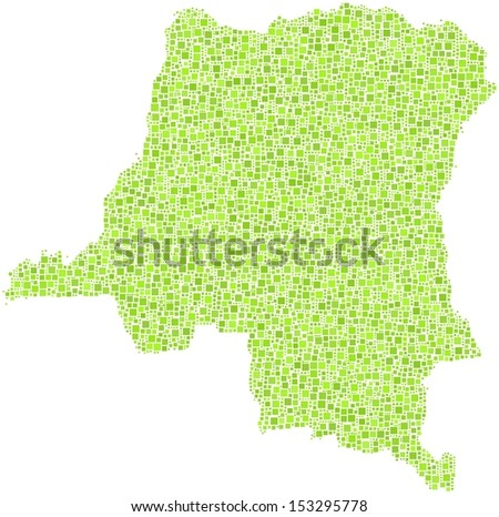 Decorative map in a mosaic of green square. Republic of the Congo.  A number of 5838 little squares are accurately inserted into the mosaic. White background.