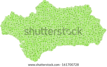 Decorative map of Andalusia - Spain - in a mosaic of green squares.  A number of 6951 little squares are accurately inserted into the mosaic. White background.