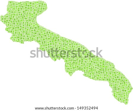 Decorative map of Apulia - Italy - in a mosaic of green squares. A number of 3634 little green squares are accurately inserted into the mosaic. White background.  - stock vector