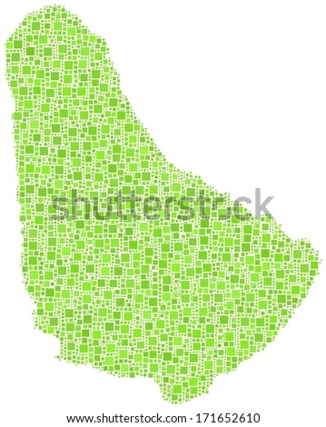Decorative map of Barbados - America - in a mosaic of green squares.  A number of 3511 little squares are accurately inserted into the mosaic. - stock vector