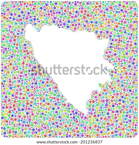 Decorative map of Bosnia Herzegovina - Europe - into a square icon. Mosaic of colored circles
