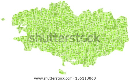 Decorative map of Brittany - France - in a mosaic of green squares. White background
