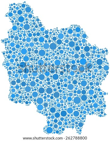 Decorative map of Burgundy - France - in a mosaic of blue bubbles - stock vector