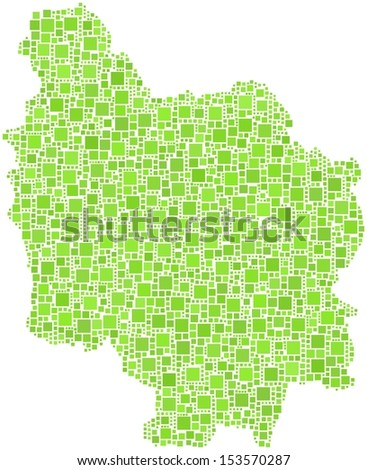 Decorative map of Burgundy - French - in a mosaic of green squares