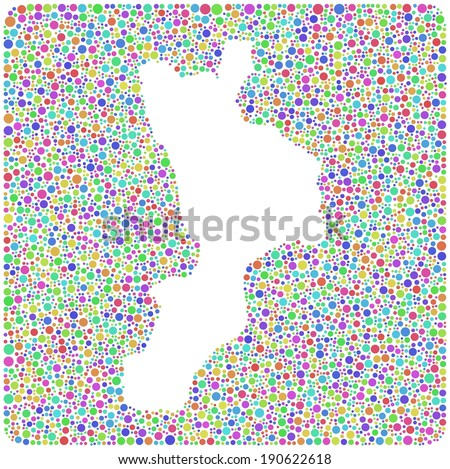 Decorative Map of Calabria - Italy - into a square icon. Mosaic of harlequin bubbles - stock vector