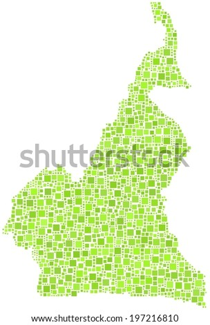 Decorative map of Cameroon - Africa - in a mosaic of green squares