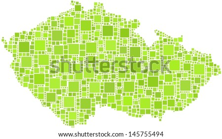 Decorative Map of Czech Republic - Europe - in a mosaic of green squares. A number of 1370 little squares are accurately inserted into the mosaic. White background.