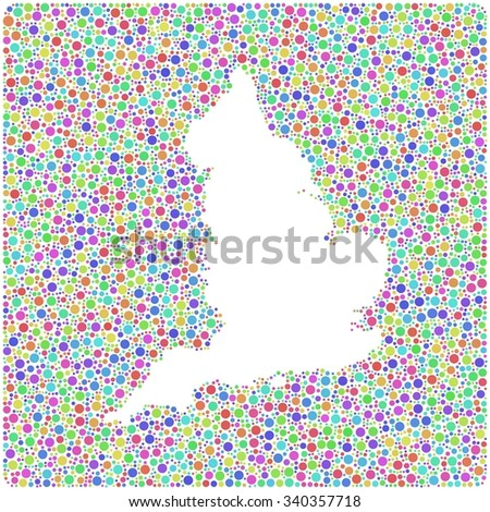 Decorative map of England - UK - in a mosaic of harlequin circles - stock vector