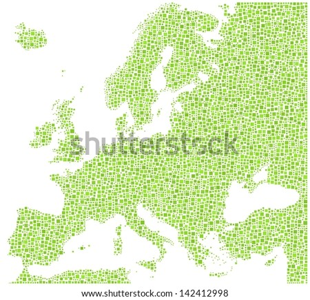 Decorative map of Europe in a mosaic of green squares. A number of 6431 little squares are accurately inserted into the mosaic. White background. - stock vector