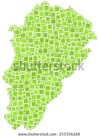 Decorative map of Franche-Comte - France - in a mosaic of green squares - stock vector