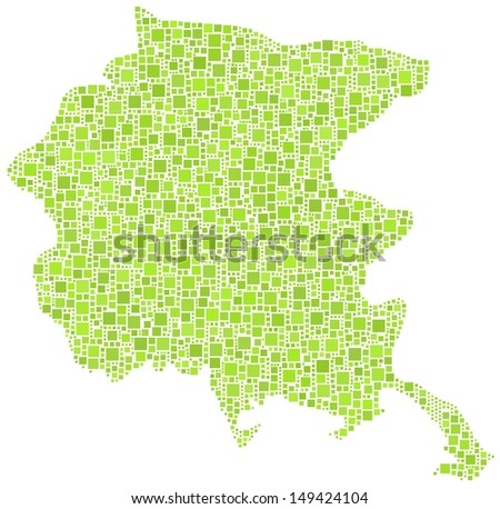 Decorative map of Friuli Venezia Giulia - Italy - in a mosaic of green squares.A number of 2745 little squares are accurately inserted into the mosaic. White background.