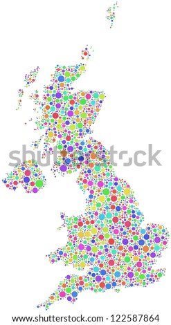 Decorative map of Great Britain (Europe). A number of 3016 bubbles are accurately inserted into the mosaic. White background.