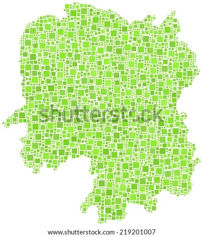 Decorative map of Hunan province of China in a mosaic of green squares