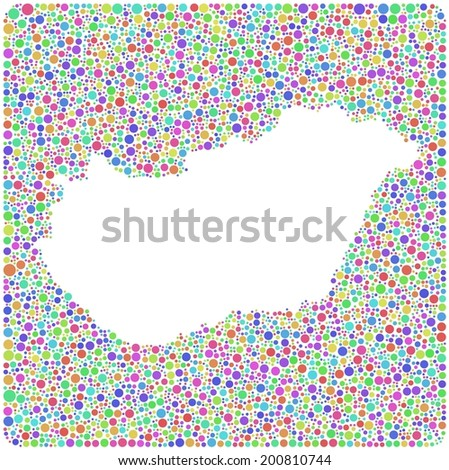 Decorative map of Hungary - Europe - in a mosaic of colored squares - stock vector