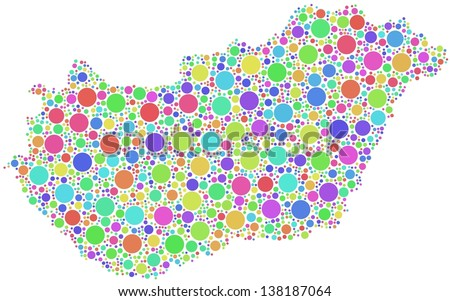 Decorative Map of Hungary - Europe - in a mosaic of harlequin bubbles. A number of 2067 little circles are accurately inserted into the mosaic. White background. - stock vector