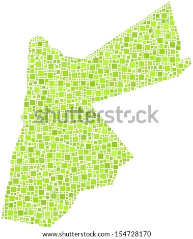 Decorative map of Jordan - Middle East - in a mosaic of green squares