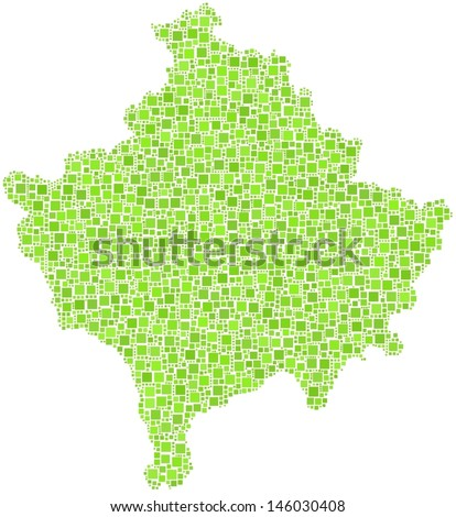 Decorative map of Kosovo - Europe - in a mosaic of green squares