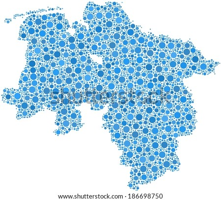 Decorative Map of Lower Saxony in a mosaic of little blue bubbles - stock vector