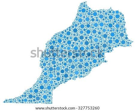 Decorative map of Morocco - Africa - in a mosaic of blue bubbles