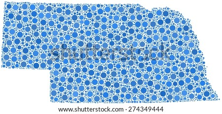 Decorative map of Nebraska - USA - in a mosaic of blue bubbles - stock vector