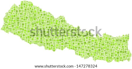 Decorative map of Nepal - Asia - in a mosaic of green squares - stock vector
