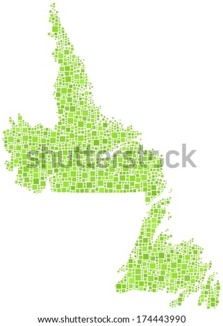 Decorative map of Newfoundland & Labrador in a mosaic of green squares