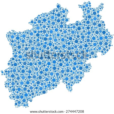 Decorative map of North Rhine Westphalia - German - in a mosaic of blue bubbles - stock vector