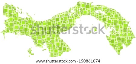 Decorative map of Panama - Central America - in a mosaic of green squares. A number of 1927 little squares are accurately inserted into the mosaic. White background.