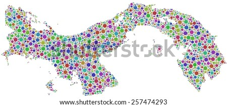 Decorative map of Panama - Central America - in a mosaic of harlequin circles