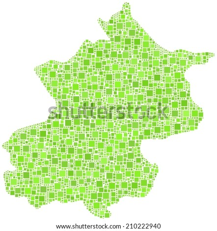 Decorative map of Pechino province of China in a mosaic of green squares - stock vector