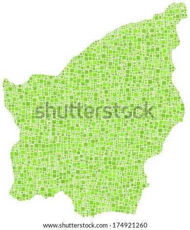 Decorative map of Republic of San Marino in a mosaic of green squares - stock vector