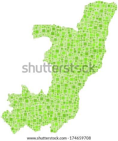 Decorative map of Republic of the Congo in a mosaic of green squares