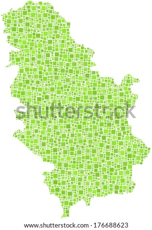 Decorative map of Serbia - Europe - in a mosaic of green squares