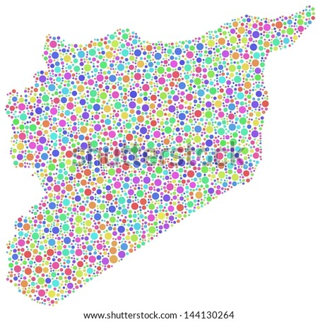 Decorative Map of Syria - middle east - in a mosaic of harlequin circles - stock vector