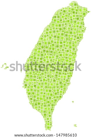 Decorative map of Taiwan - Asia - in a mosaic of green squares. A number of 2604 little squares are accurately inserted into the mosaic. White background. - stock vector