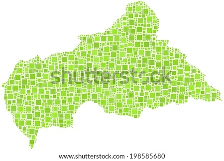 Decorative map of the Central African Republic. Mosaic of green squares