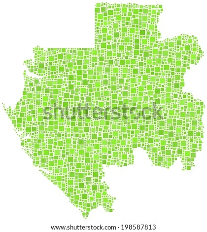 Decorative map of the Gabonese Republic - Africa - in a mosaic of green squares