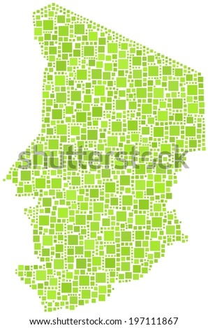 Decorative map of the Republic of Chad in a mosaic of green squares