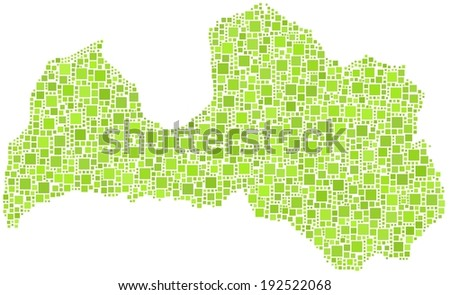 Decorative map of the Republic of Latvia - Europe - in a mosaic of green squares  - stock vector