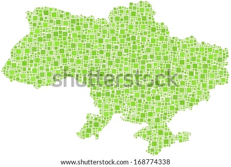 Decorative map of Ukraine in a mosaic of green squares