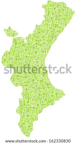 Decorative map of Valencia - Spain - in a mosaic of green square. A number of 4220 little squares are accurately inserted into the mosaic. White background. - stock vector