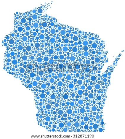 Decorative map of Wisconsin - USA - in a mosaic of blue bubbles - stock vector