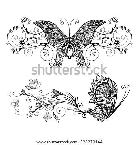 Decorative monochrome butterflies set with floral decoration isolated vector illustration - stock vector