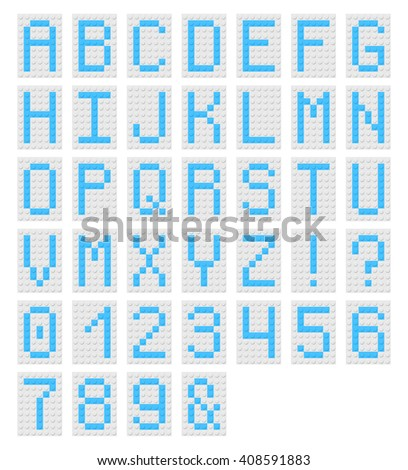 Decorative monospaced font from plastic constructor blocks