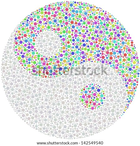 Decorative mosaic of the symbol Ying and Yang - stock vector